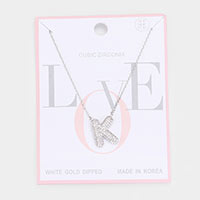 White Gold Dipped CZ Monogram Pendant Necklace