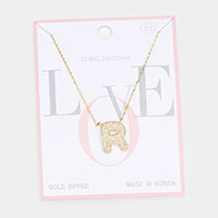 Gold Dipped CZ Monogram Pendant Necklace