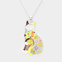 Acrylic Colorful Pattern Cat Pendant Necklace
