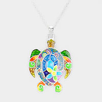 Acrylic Colorful Pattern Turtle Pendant Necklace