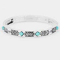 Turquoise Antique Pattern Metal Stretch Bracelet