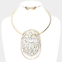 Baguette Crystal Irregular Open Circle Necklace