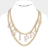 Drippin Rhinestone Pave Chain Layered Necklace