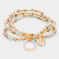 3 PCS - Multi Bead Charm Stretch Layered Bracelets