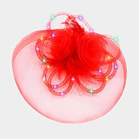 Light Up Rosette Feather Mesh Fascinator / Headband