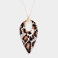 Genuine Leather Leopard Print Feather Pendant Long Necklace