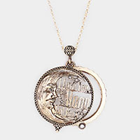 Antique Metal Moon Pendant Magnifying Glass Long Necklace