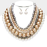 Multi Layered Pearl Collar Necklace