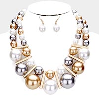 Chunky Pearl Statement Bib Necklace