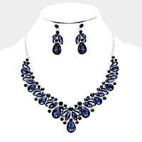 Teardrop Marquise Round Rhinestone Crystal Evening Necklace