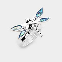 Abalone Dragonfly Antique Metal Stretch Ring