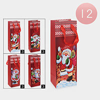 12PCS - Santa Claus Christmas Wine Gift Bags