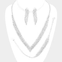 Crystal Rhinestone V - Shape Necklace Clip on Earring Jewelry Set