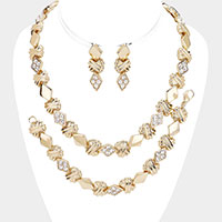 Rhinestone Pave Textured Metal Necklace Jewelry Set