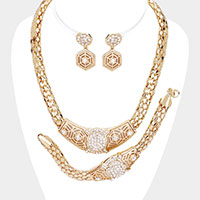 Rhinestone Pave Snake Chain Necklace Jewelry Set