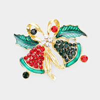 Rhinestone Christmas Jingle Bell Pin Brooch