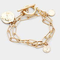 Coin Charm Chain Metal Toggle Bracelet