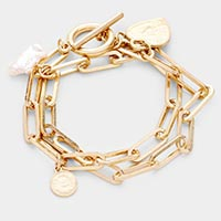 Pearl Coin Charm Chain Metal Toggle Bracelet
