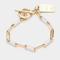 Elizabeth Coin Charm Chain Metal Toggle Bracelet