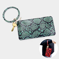 Snake Skin Faux Leather Key Chain / Bracelet / Pouch Bag
