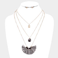 Leopard Fan Tassel Pendant Layered Necklace