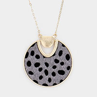 Animal Pattern Faux Fur Round Pendant Long Necklace
