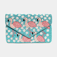 Flamingo Pattern Bead Clutch Bag