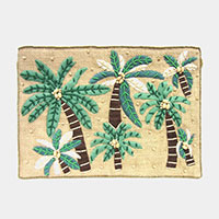 Beaded Palm Tree Pattern Woven Clutch Bag