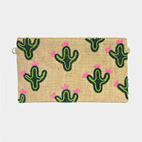 Beaded Cactus Pattern Woven Clutch Bag