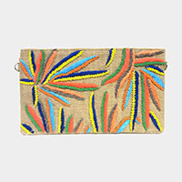 Colorful Beaded Leaf Pattern Woven Clutch Bag