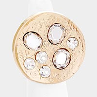Hammered Round Metal Crystal Adjustable Ring
