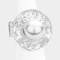 Pearl Hammered Metal Stretch Ring
