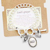 Lord's Prayer Cross Charm Metal Toggle Link Bracelet
