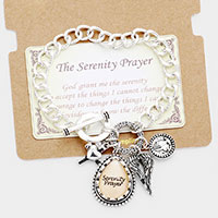 Serenity Prayer Cross Wing Charm Metal Toggle Link Bracelet