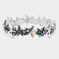 Starfish Metal Rhinestone Stretch Bracelet