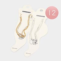 12PCS - Rhinestone Link Metal Layered Anklets
