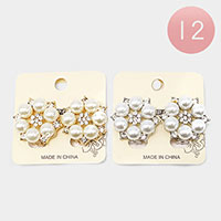 12PCS - Pearl Floral Rhinestone Clip On Earrings