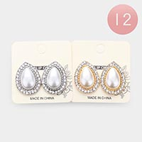 12PCS - Teardrop Pearl Crystal Trim  Clip On Earrings