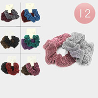 12 Set of 2 - Shimmery Textured Scrunchies Hair Bands