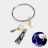 Snake Skin Print Tube Faux Leather Tassel Key Chain / Bracelet