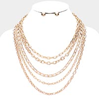 Multi Chain Link Layered Metal Necklace