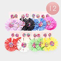 12PCS - Bubble Bead Bloom Flower Earrings
