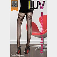 Floral Lace Top Backseam Thigh High Stockings