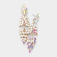 Marquise Crystal Cluster Drop Evening Earrings