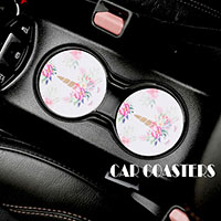 2PC -Floral Pattern Unicorns Car Coasters