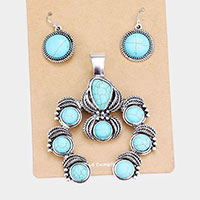 Natural Stone Tribal Embossed Metal Magnetic Pendant Set