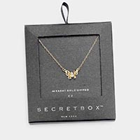 Secret Box _ 14K Gold Dipped CZ Butterfly Pendant Necklace