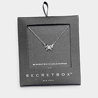 Secret Box _ 24K White Gold Dipped CZ Butterfly Pendant Necklace