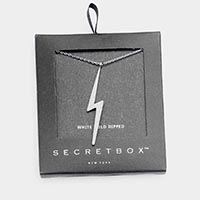 Secret Box _ White Gold Dipped Lightning Bolt  Pendant Necklace