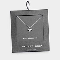 Secret Box _ White Gold Dipped Elephant Pendant Necklace
